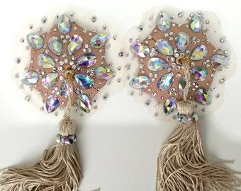 Bespoke Luxury swarovski Burlesque nipple tassels / pasties. Skin tone net.