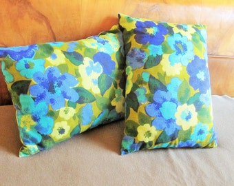 "Two 11"" by 15"" Rectangular Pillows - Olive & Army Green, Turquoise and Navy Blue - Retro 50s Stuff - Styling for a Chair or Couch!!!"