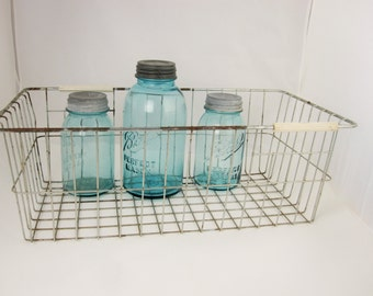 Long, Wire Basket - Strong - Sturdy - Basket With Square Corners - Two Rubber Handles - Multi-tasking