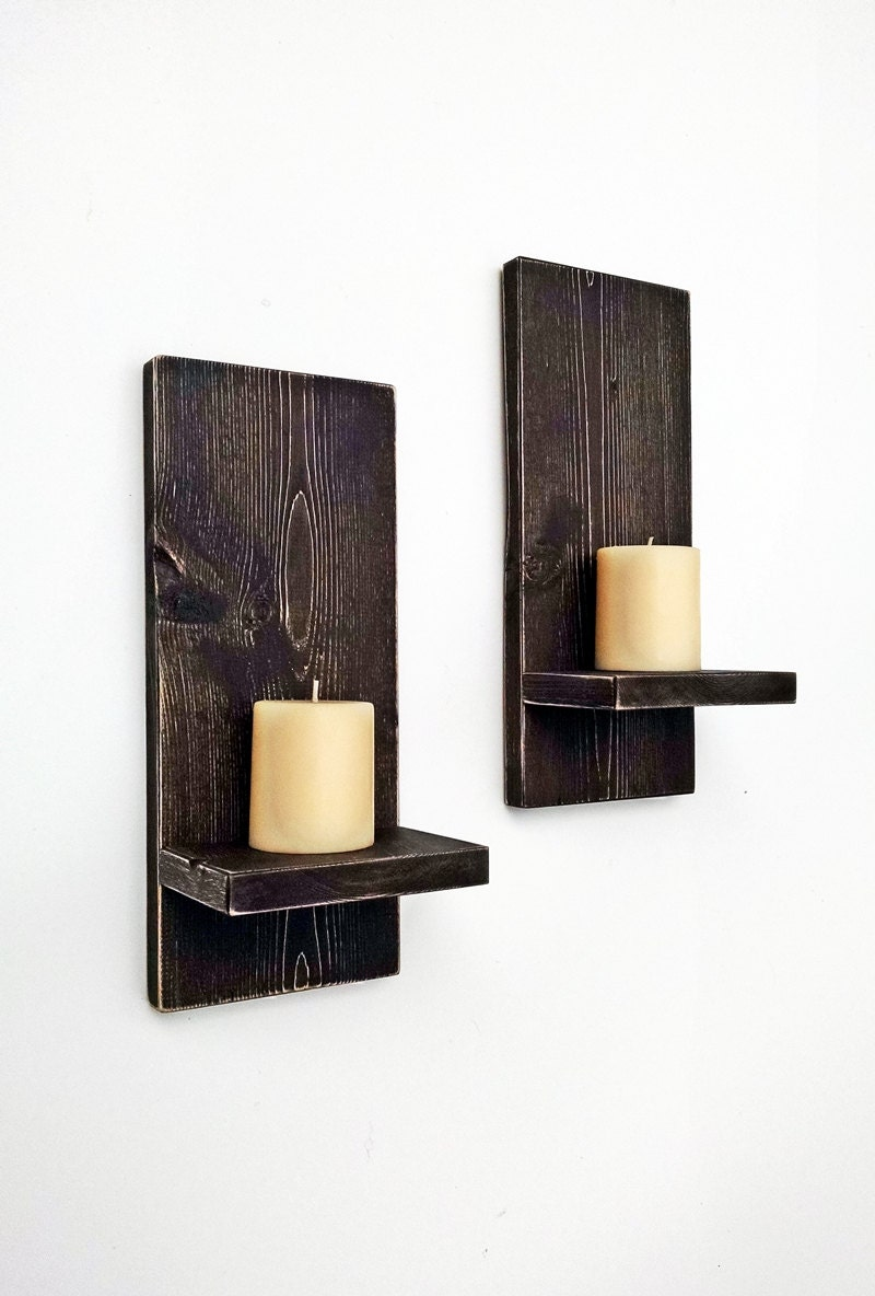 Decorating Ideas For Wall Sconces : Rustic Wall Sconces pair Wood Wall Candle by BlueRidgeSawdust