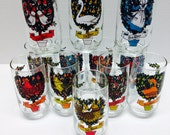 Complete Set 12 Days of Christmas Vintage  12 Piece Glassware Set 60s/70 Drinking Glasses
