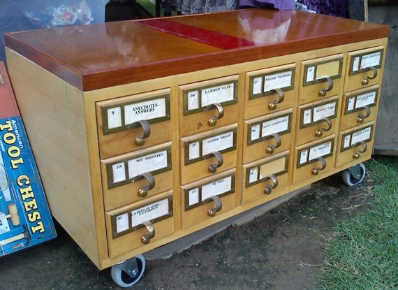 Library Card Catalog Multi Functional Bench Coffee By Adustytrunk