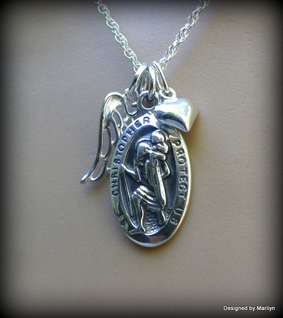 Sterling silver St. Christopher medal, Angel wing necklace, Catholic jewelry, Christ bearer, Patron Saint