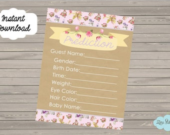 Baby Shower Game. Baby Prediction Game. Gender Reveal Game. Shabby Chic Baby Shower