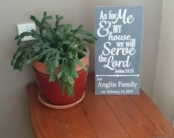 As For Me and My House We Will Serve The Lord Personalized Family Name sign, scripture sign, home decor, wedding gift, hand painted, Family