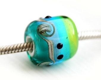 Ocean Jewelry, European charm, Large Hole bead in Teal, Aqua Blue, Beach Glass, Handmade lampwork, Sea jewelry, SRA, by MayaHoney