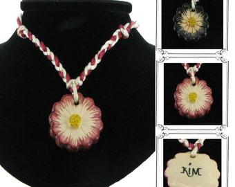 Kim Craftsmen Ceramic Flower Necklace Pendant 70s Vintage