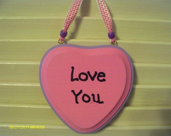 Valentine Love You Heart Wall Hanging Pink