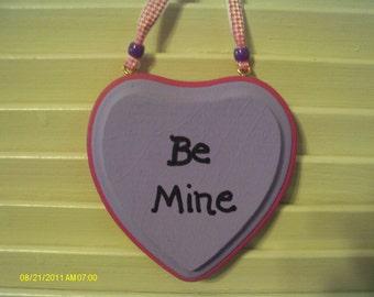 Valentine Be Mine Heart Wall Hanging Purple