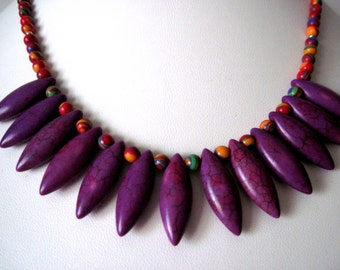 purple turquoise  multi color necklace