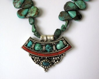 Real Turquoise and coral necklace  southwest style  tribal necklace
