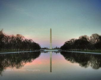 Washington DC Sunrise Photography, Washington Monument, Reflecting Pool, National Mall Wall Art, Professional Landscape Photography