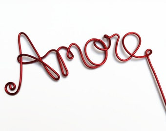 Amore Wire Wedding Cake Topper With Stem- Silver, Gold, Red, Brown, Black, Copper, Diamond Cut Silver
