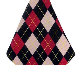 Red-Pink-Black Argyle Print Microfiber Golf Towel