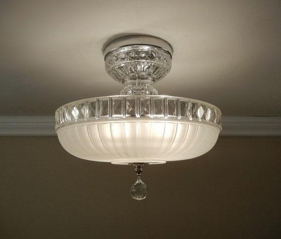 Vintage Ceiling Light 1940's Winter White Pressed Glass