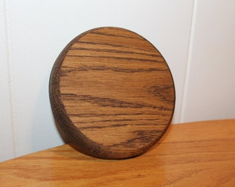 "Round Oak Base 5""x 5"" Sculpture Figurine Stand Wood Display Base Trophy Case Wood Circles Dark Walnut Stain"