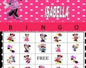 Personalized Minnie Mouse Polka Dot Background Bingo