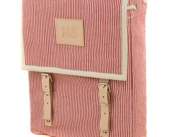 Red Stripes Canvas Backpack, Mediterranean, Red Stripes, Leather and Canvas, Women's Backpack