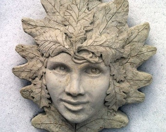 oak woman, green woman, oak girl, green girl, cast cement, garascia art, garascia, wallhanging, girl face, garden art, garden decoration