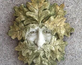 Green Man, Stone Green Man, Garden GreenMan, Garden Art, Lucky Green Man, Cement Art, Garascia GreenMan, Garascia Studio, Garden Art