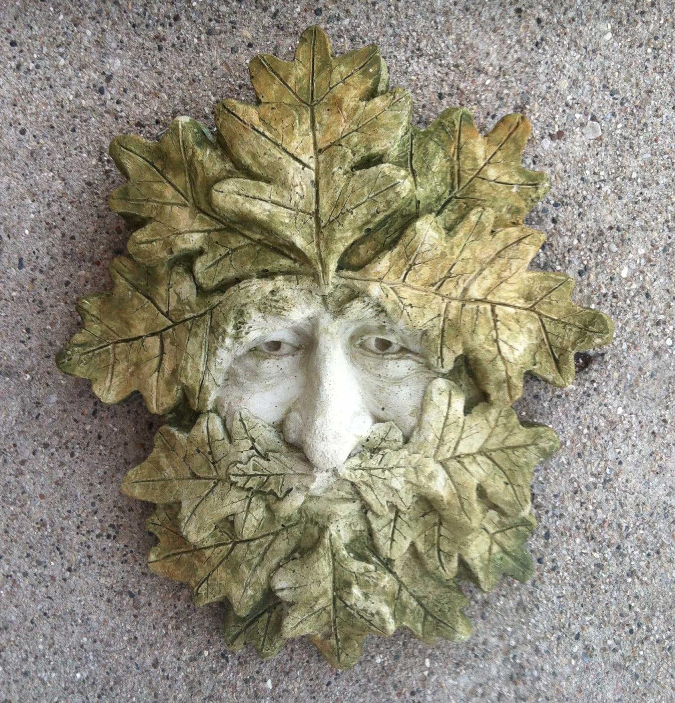 Details. Green Man Garden Sculpture.