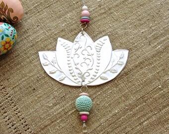 Silver Lotus Flower, Embossed Metal Work, Boho Chic Decor, Gift For Her