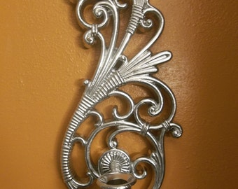 SALE! was 15.00 Up Cycled Chrome Homco Syroco Scroll Wall Sconce, Possibly Home Interior S