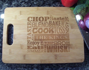 Custom Cutting Board, Personalized Cutting Board, Bamboo Cutting Board, Butcher Block, Wedding, Housewarming, Anniversary Gift Cook Words