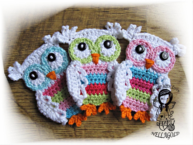 Crochet Pattern Applique Coloured Owl Applique Owl Diy
