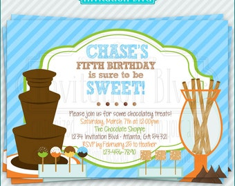 Chocolate Party - Chocolate Fountain - Fondue Party - Sweets and Treats - Sweet Shoppe - Printable Birthday Party Invitation