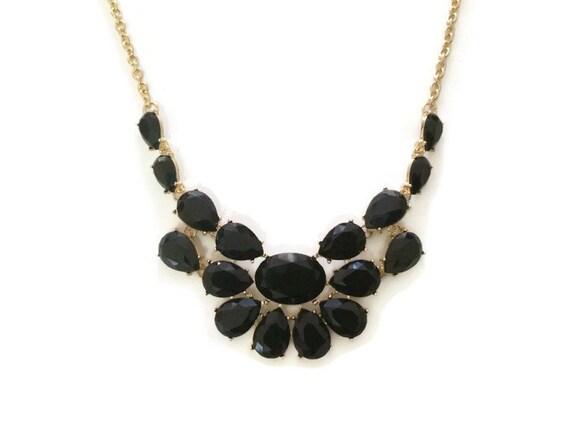 black chunky necklace black necklace black gold by