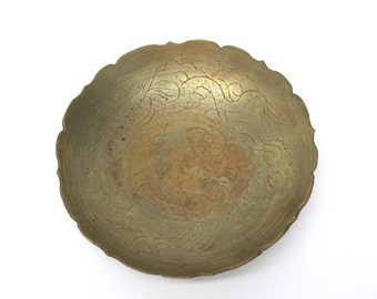 On SALE  SALE Brass Dish Plate Scalloped Engraved Antique Brass Dragon Collectible Brass