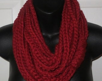 More Colors Available..Chunky Red Infinity Scarf..Cowl...Neck Warmer..Crochet..Chain..Gift for friend..Accessory