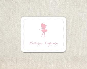 Pink ballerina little girls enclosure cards calling cards