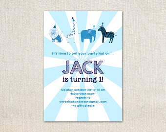 Blue Circus animal party hat birthday party invitations