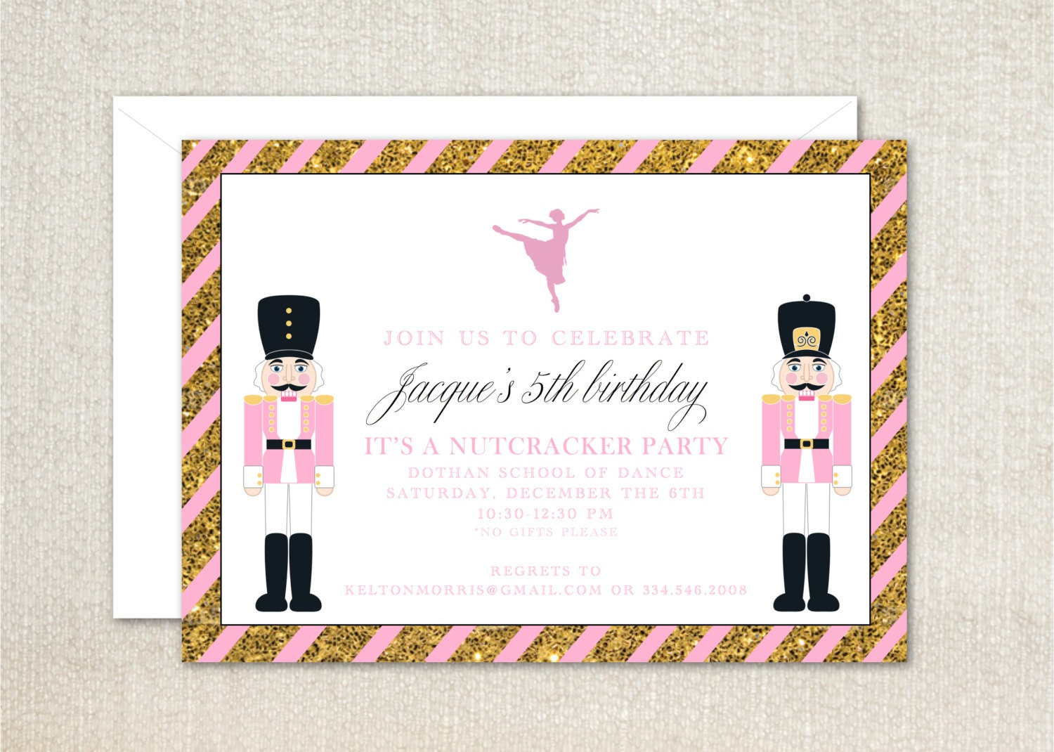 Nutcracker ballerina pink and gold girls birthday party invitations ...