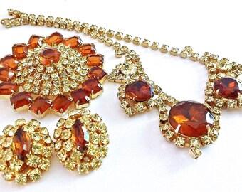 Topaz Brown Rhinestone Juliana D&E Necklace Brooch Earrings Set Parure, Lemon Yellow, Vintage