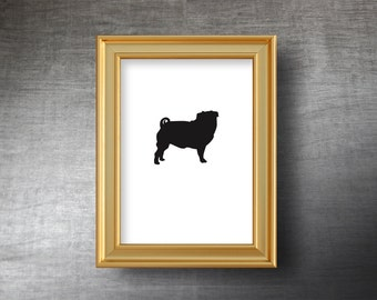 Pug Wall Art 5x7 - UNFRAMED Hand Cut Pug Silhouette Portrait - Personalized Name or Text Optional