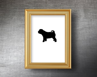 Shar Pei Wall Art 5x7 - UNFRAMED Hand Cut Shar Pei Silhouette Portrait - Personalized Name or Text Optional