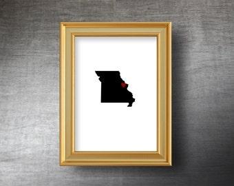 Missouri Map Art 5x7 - UNFRAMED Die Cut Silhouette - Missouri Print - Missouri Wedding - Personalized Text Optional