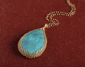 Turquoise Tear Drop Pendant necklace crochet 14K gold filled wire