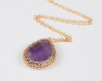 Purple Amethyst Tear Drop pendant necklace with 14K gold filled wire