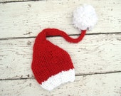 Red and White Santa Baby Hat / Gnome Elf Christmas / Newborn  Knitted Chunky Photo Prop