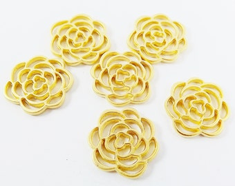 6 Round Flower Fretwork Lace Charms - 22k Matte Gold Plated Brass