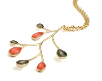 Red Gold Necklace, Branch Necklace, Make Christmas Gifts, Gold Nature Jewelry, Nature Necklace, Branch Pendant, Red Pendant, Xmas Gift Ideas