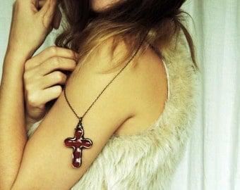 red transparent cross, cross necklace, cross stained glass, cross tiffany