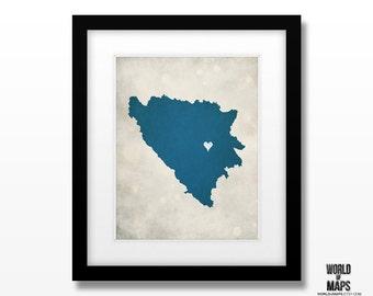 Bosnia Map Print - Home Town Love - Personalized Art Print