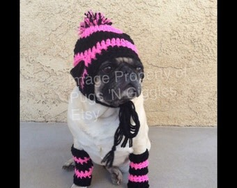 SET striped beanie and leg warmers-pink and black-winter wear for dogs-pugs-cute dog hats-cute pug hats-dog leg warmers