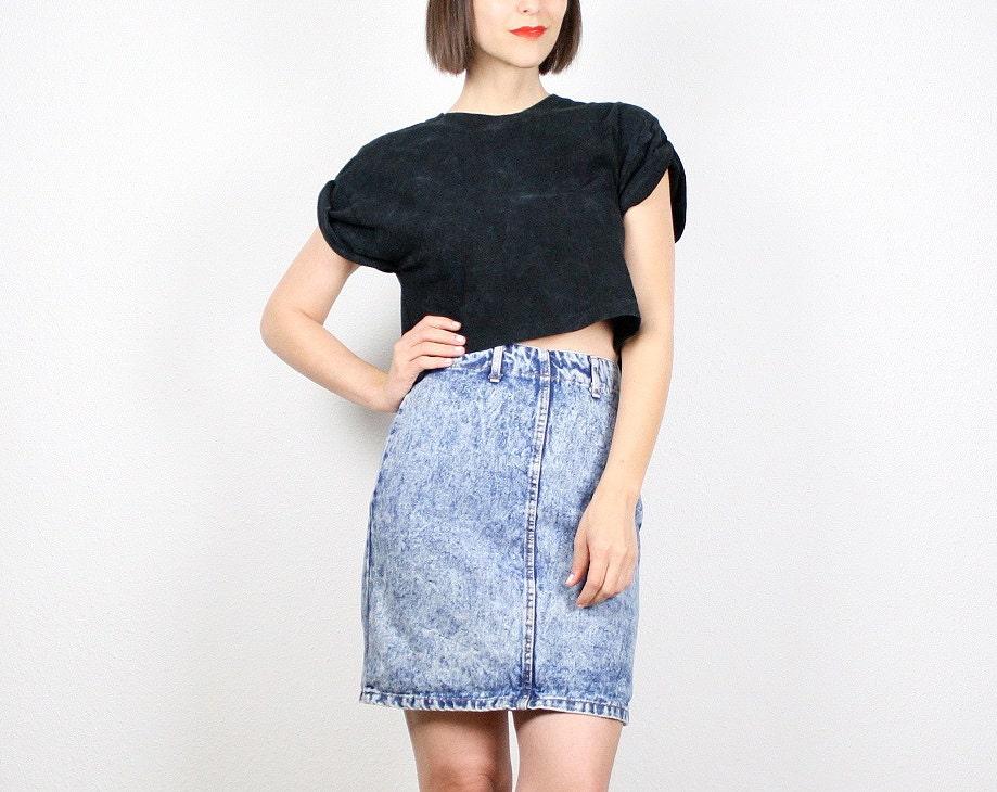 vintage 80s mini skirt acid wash denim skirt blue jean skirt