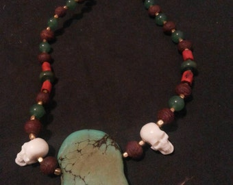 Traditional Naga Headhunters necklace with tibetan turquoise stone pendant